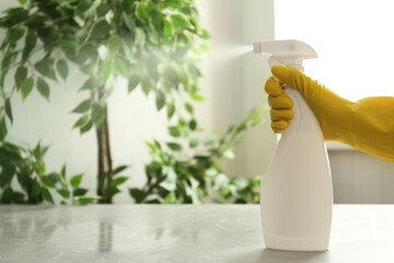 Keuken foto achterwand Londen Person in gloves spraying detergent at table indoors, closeup. Space for text