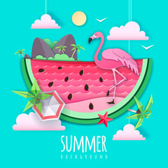 Poster Vert corail Slice of watermelon with sea or osean landscape and flamingo inside. Summer beach background. Cut out paper art style design. Origami