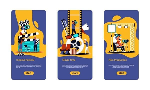 Movie making poster. Film festival, online cinema and movie production banners with cartoon film crew shooting scenes. Vector illustration onboard screens cinema industry