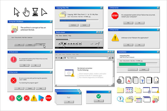 Old computer window. Popup warning, error and installation windows, media player and file manager classic retro design. Vector illustration vintage tab 90s software UI