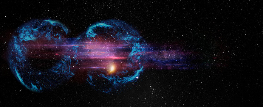 Black hole over star field in outer space, abstract space wallpaper with form of infinity symbol and sparks of light with copy space. Elements of this image furnished by NASA.