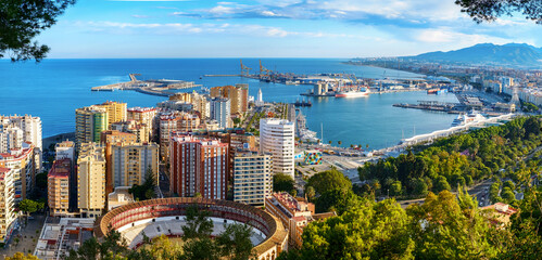 Panoramic view of the Malaga city, harbor and bullfighting arena, Costa del Sol, Malaga Province, Andalucia, Spain, Western Europe