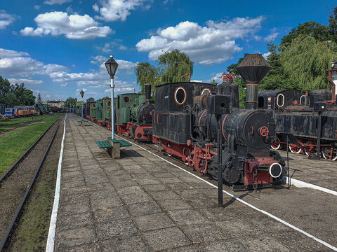 Old steam engine locomotives on narrow gauge tracks in the museum