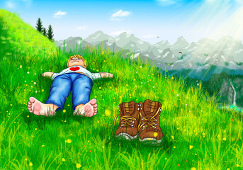Junge Kind liegt barfuß bequem Hände hinter Kopf bergwiese Lächeln Himmel Blick aufwärts oben Wanderer Schuhe Pause Berge Gebirge Allgäu Bayern Österreich Schweiz Tirol Urlaub Herz Natur Panorama