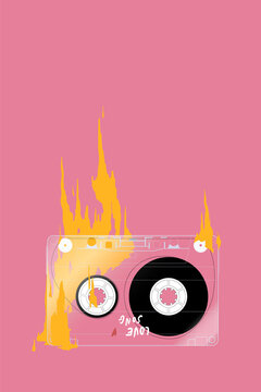 """Retro Compact Cassette tape """"love song mixtape"""" on fire on pastel pink background, simple cute illustration"""