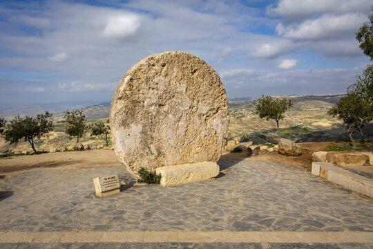 MOUNT NEBO, JORDAN - Mar 05, 2020: Abu Badd rolling wheel at Mount Nebo