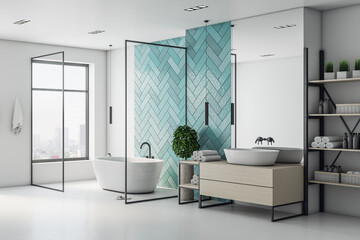 Papiers peints Pierre, Sable Minimalistic turquoise bathroom interior with bath