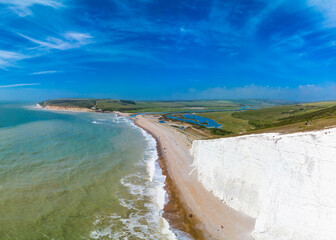 Severn Sisters white cliffs over the ocean at Cuckmere, in the South Downs National Park, East Sussex