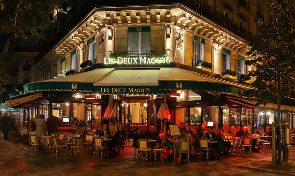 Paris, France-October 25, 2017: The famous cafe Les deux magots located on Saint-Germain boulevard .It was once home for to intellectual stars , from Hemingway to Picasso.