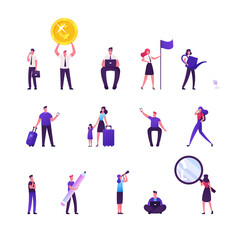 Set of Male and Female Characters Traveling with Luggage and Children, Businesspeople Working on Laptop, Hold Huge Golden Coin and Flag, Magnifier and Spyglass. Cartoon People Vector Illustration