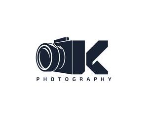 Initial Letter K Camera photography filmmaker logo design