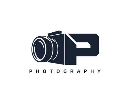 Initial Letter P Camera photography filmmaker logo design