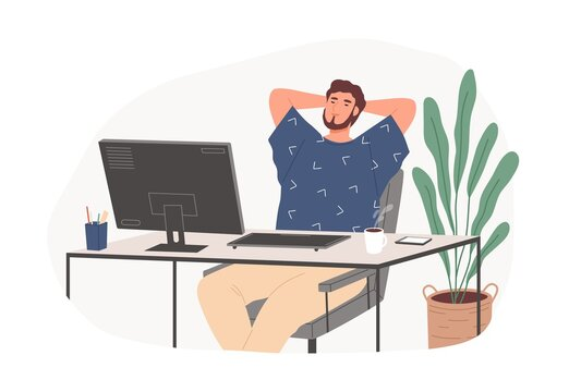 Relaxed guy sitting on chair feeling satisfied from work productivity vector flat illustration. Freelancer male resting at office in workplace isolated. Pleasant happy worker at desk with computer