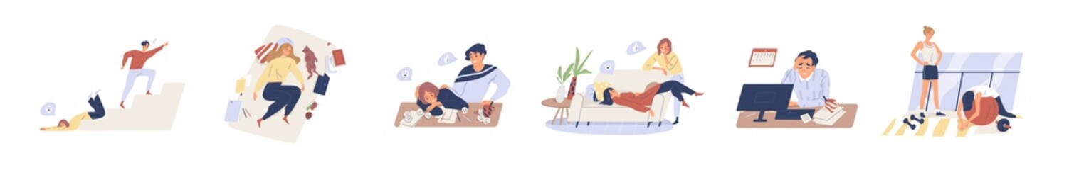 Exhausted, fatigue people in procrastination and emotional burnout on white background. Tired, frustrated, weak, unhappy people do nothing, fall down stairs, laying sofa in flat vector illustration
