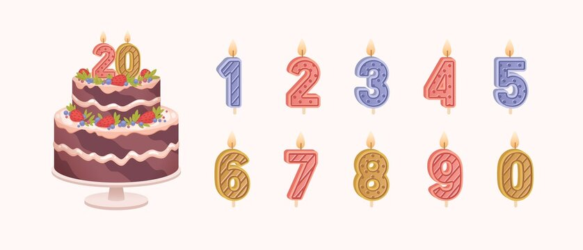 Set of isolated burning number shaped candles for celebration. Birthday chocolate cake for anniversary and candles for each year flat vector illustration on light background