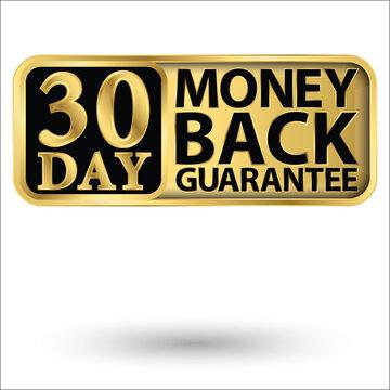 30 day money back guarantee golden label, vector illustration