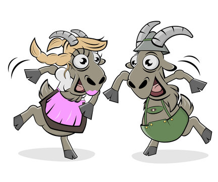 funny cartoon illustration of dancing goats in bavarian lederhosen and bavarian dirndl