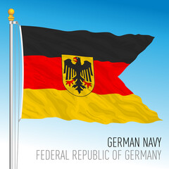 German Navy official flag, Germany, vector illustration