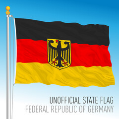 Flag of Germany, unofficial variant with coat of arms, vector illustration