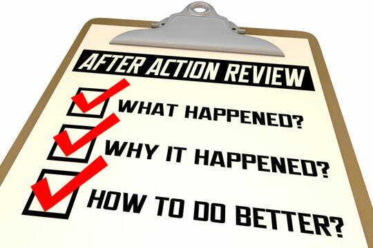 After Action Review Checklist Evaluation Steps Process 3d Illustration