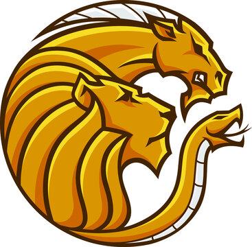 Head of Chimera Round Logo Design
