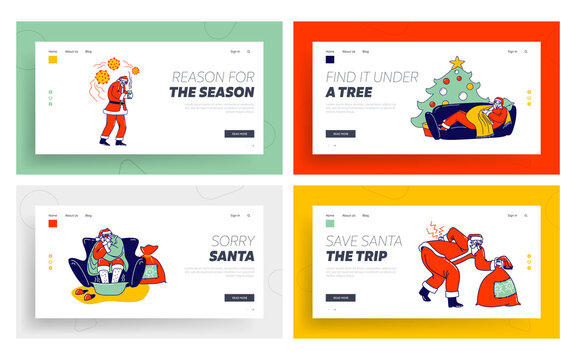 Sick Santa Claus Landing Page Template Set. Character Wrapped in Blanket Soar Feet, Vomit, Radiculitis Illness, Sneezing. Unhappy Grandfather Have Flu Lying on Sofa. Linear People Vector Illustration