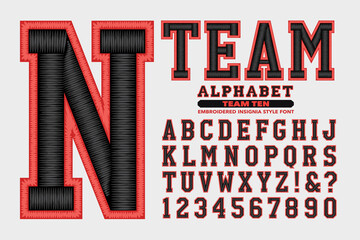 A Collegiate or Sports Styled Alphabet with Embroidered Thread Effects; This Font is Suited to Sports Team Names and Collegiate Wear