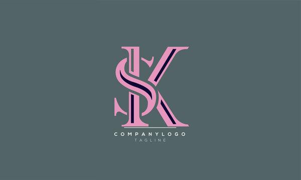 SK initials monogram logo design