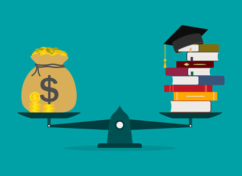 Money for education. Cost of college and invest in school. Scholarship of student. Finance loan, debt for study in university. Stack with dollar for diploma of bachelor. Value tuition concept. Vector
