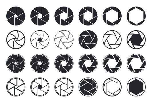 Camera shutter icons. Aperture and lens for focus. Photo optics. Diaphragm, objective, zoom-snap of photograph. Logos of photography studio, film, picture. Symbol for photo, video equipment. Vector