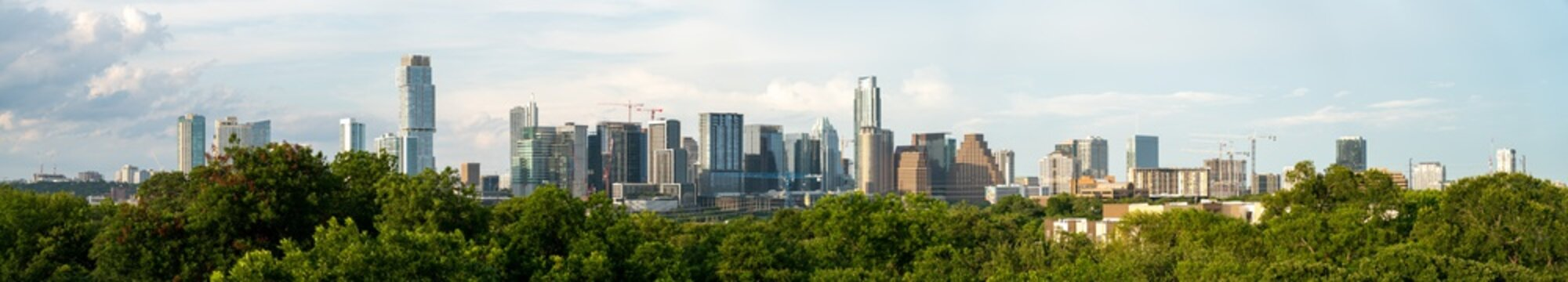 Austin, Texas - June 25, 2020: View of Downtown Austin Skyline with Multiple Constructions Cranes During Daytime