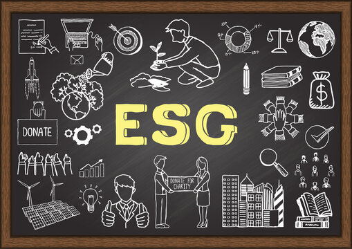 Hand drawn illustration about ESG or Environmental, social and governance on chalkboard. Stock Vector