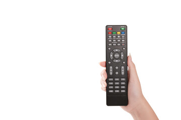 Woman hand holding TV remote control isolated
