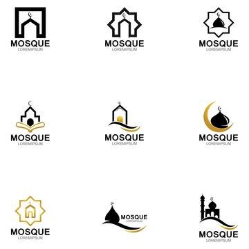 Modern mosque logo symbol or icon template
