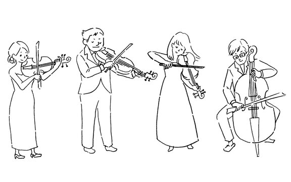 People playing the string quartet