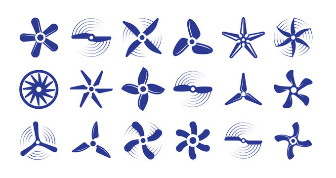 Propellers large set. Retro modern coolers turbine rotary helicopter blades airplanes turbulence stylish ventilation cooling systems graphic power air flow ship rotation energy. Vector aerial.