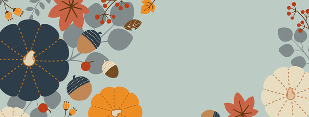 Horizontal Rectangle Banner Design for Autumn/Fall with Pumpkins, Leaves, Nuts, Acorns, and Berries