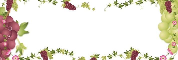 葡萄が生っている蔦と紫とグリーンの葡萄のイラストバナー素材