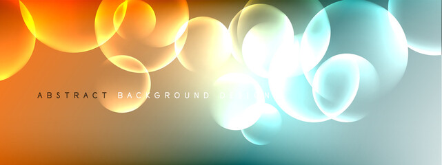 Foto op Canvas Bol Vector abstract background liquid bubble circles on fluid gradient with shadows and light effects. Shiny design templates for text