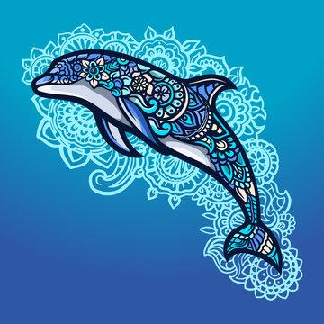Dolphine zentangle art full color