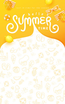 Summer banner design with beach accessories on the yellow background and copy space.