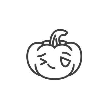 Winking pumpkin face emoji line icon. linear style sign for mobile concept and web design. Halloween pumpkin emoticon outline vector icon. Symbol, logo illustration