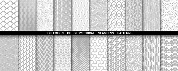 Photo sur Plexiglas Artificiel Geometric set of seamless gray and white patterns. Simple vector graphics.