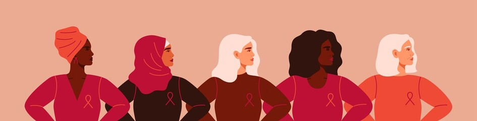 Five women with pink ribbons of different nationalities are standing together. Breast cancer awareness prevention month poster. Concept of support and solidarity with females fighting oncological dise