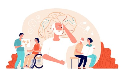 Alzheimer disease. Illness neurology therapy. Elderly loss memory, brain treatment. Senior patient medical rehabilitation vector concept. Illustration alzheimer brain, dementia disease Wall mural