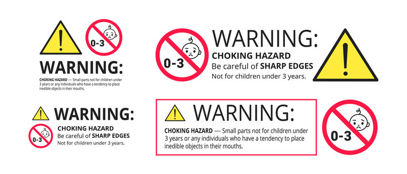 Choking hazard forbidden sign sticker not suitable for children under 3 years isolated on white background vector illustration set. Warning triangle, sharp edges and small parts danger.