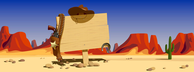 Wood signboard with cowboy hat and colt against the backdrop of the sunlit desert and mountains of the Wild West of the USA. Vector illustration