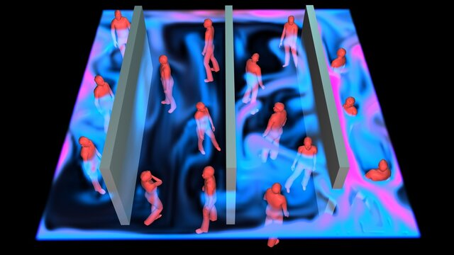 Air currents flowing around crowd of people in confined room . Flow goes around men, women and walls in closed space.  3d simulation rendering illustration. Perspective view