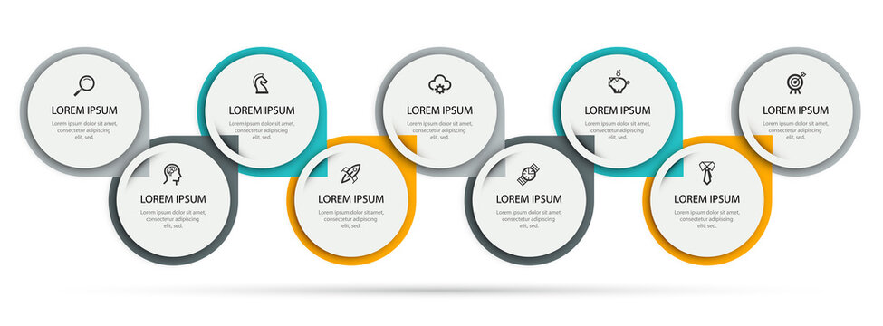Vector Infographic label design template with icons and 9 options or steps. Can be used for process diagram, presentations, workflow layout, banner, flow chart, info graph.