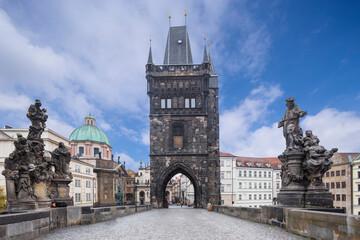 Prague, Charles Bridge in the morning. Czech Republic.